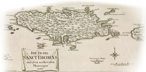 Map of St Thomas, USVI 1767